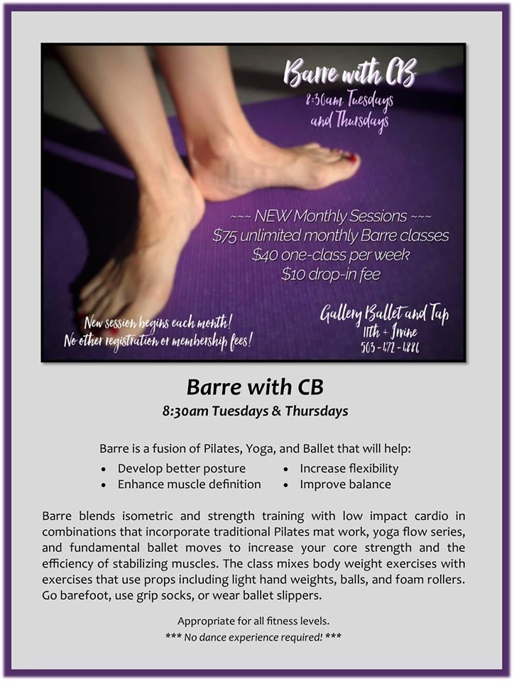 Barre with CB! Tuesdays & Thursdays   8:30am