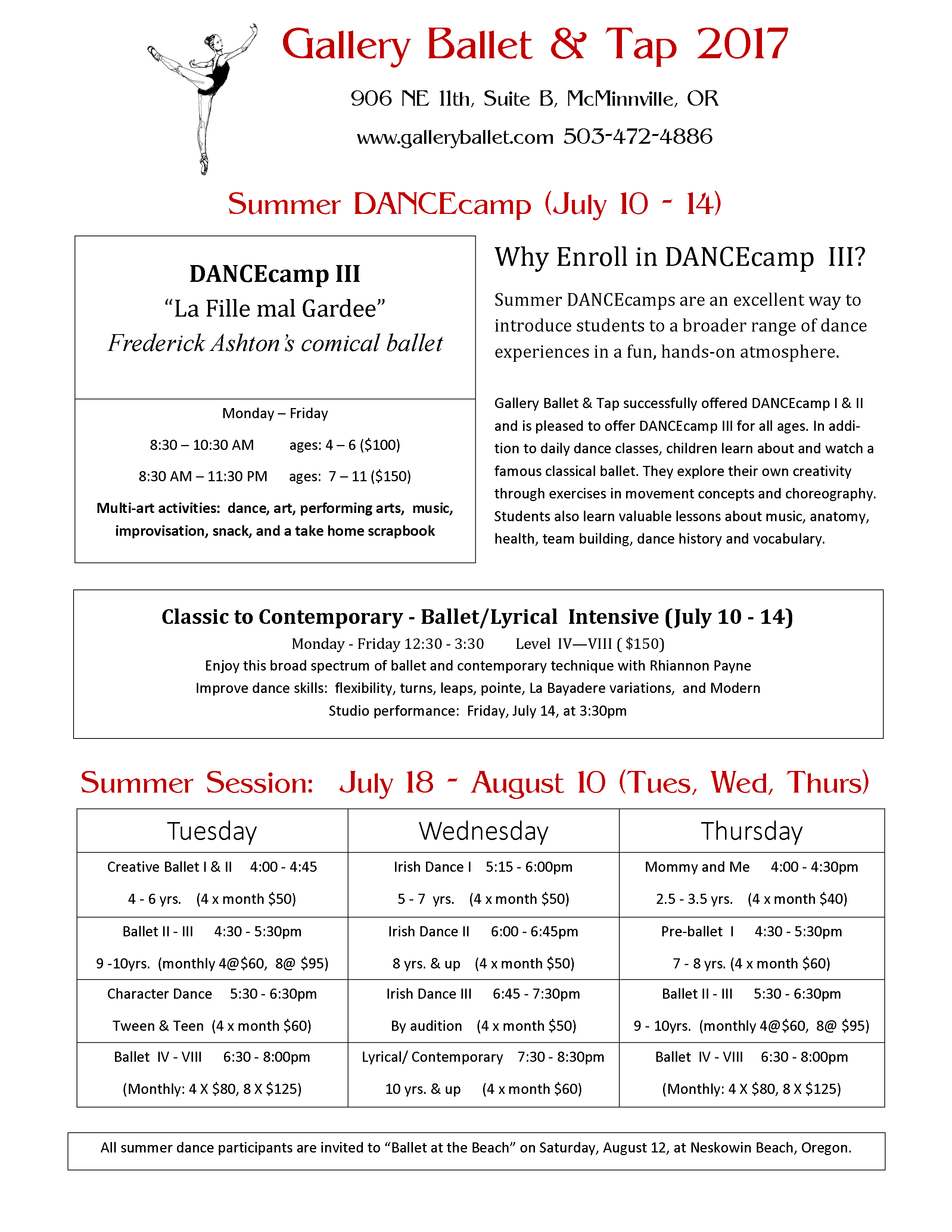 Check out our Summer Schedule!
