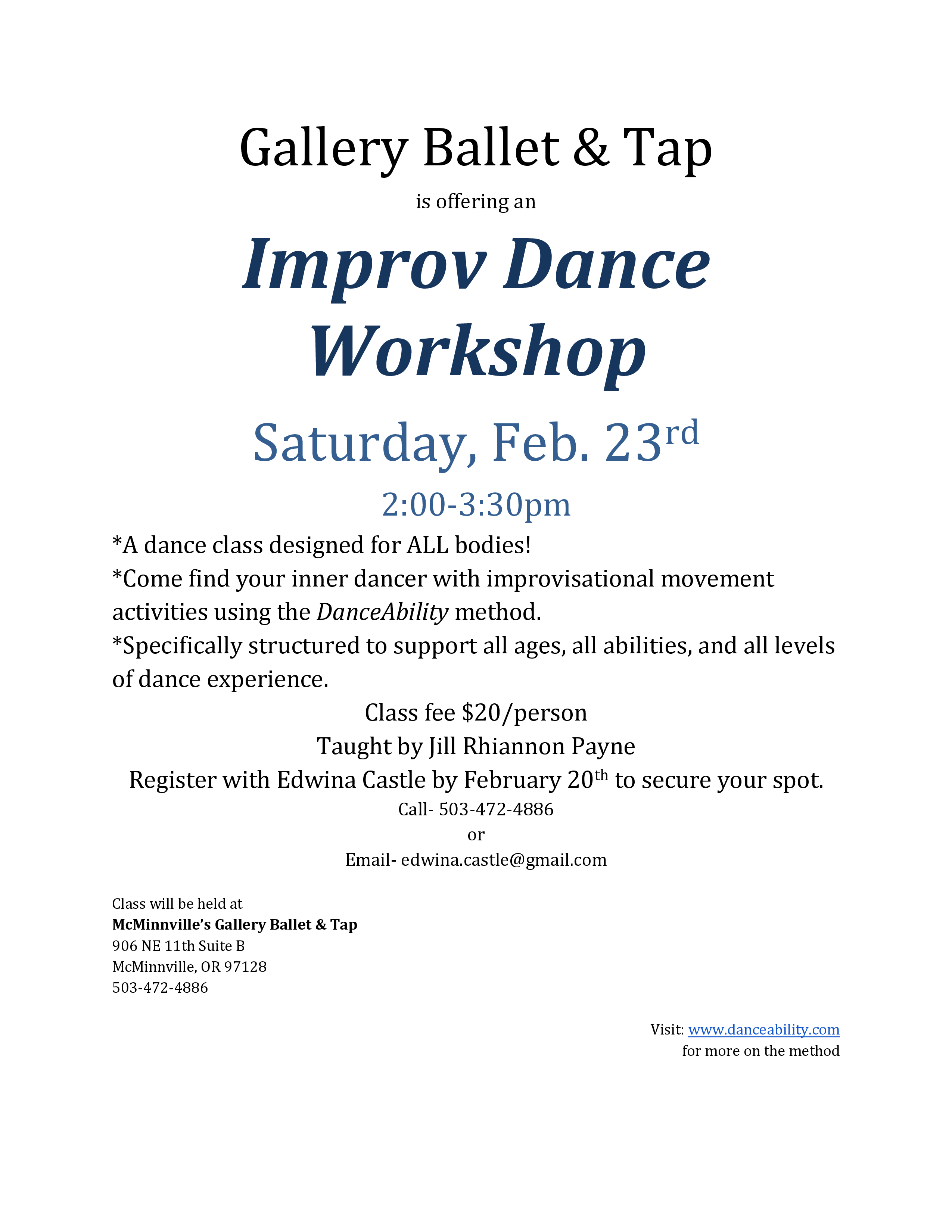 Improv Dance Workshop